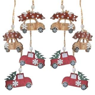 8 kleine Autos - rot grün natur aus Holz - als Weihnachtbaumanhänger
