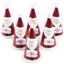 6 kleine Nikolausfiguren rot weiß mit Geschenk -...