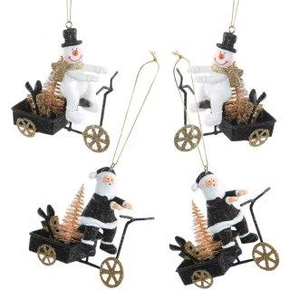 4 Weihnachtsanhänger Schneemann + Weihnachtsmann auf Roller schwarz weiß Gold glitzernd