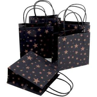 5 kleine weihnachtliche Papiertüten mit Henkel schwarz mit Sterndekor