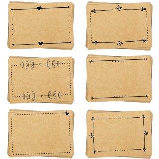 Aufkleber Set - 60 Etiketten zum Beschriften in Kraftpapier-Optik braun schwarz
