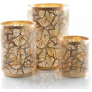 Kerzenhalter Set aus Metall Gold durchbrochen - verschiedene Größen