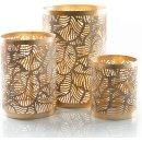 Kerzenhalter Set aus Metall Gold durchbrochen -...