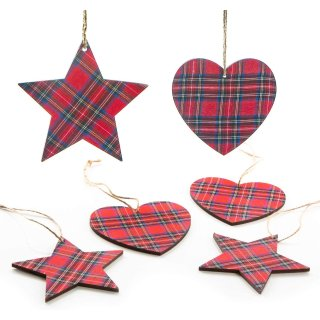 6 Weihnachtsanhänger im Karomuster rot blau 14 cm Herzen + Sterne
