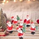 6 kleine Weihnachtsmann Figuren rot weiß 5 cm - Dekofiguren an Weihnachten