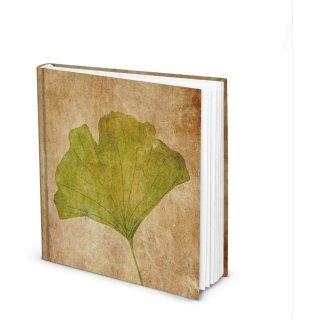 Ginkgo Notizbuch quadratisch - leere weiße Seiten 21 x 21 cm