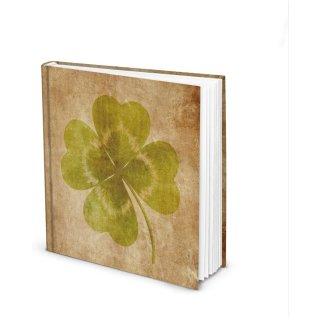 Notizbuch mit KLEEBLATT braun grün 21 x 21 cm leeres Tagbuch ohne