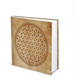 Quadratisches Notizbuch LEBENSBLUME - Blankobuch beige braun 21 x 21 cm