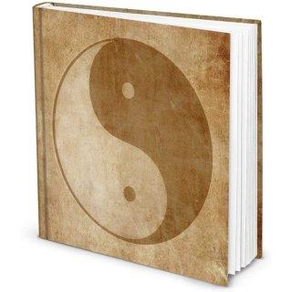 Yin und Yang Notizbuch quadratisch 21 x 21 cm - Symbol Buch braun beige vintage
