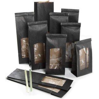 Schwarze Blockbodenbeutel mit Sichtfenster & Folieneinlage in 8,5 x 5 x 26,5 cm
