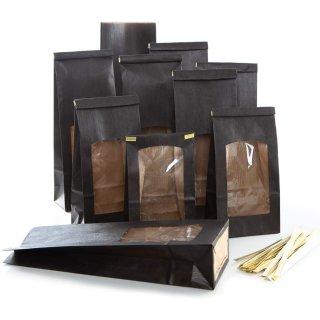 Lebensmittelechte Tüten mit Sichtfenster schwarz - 10,5 x 6,5 x 31 cm
