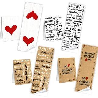 SET - 4 x 10 Geschenkaufkleber für selbstgemachte Geschenke - 5 x 14,8 cm