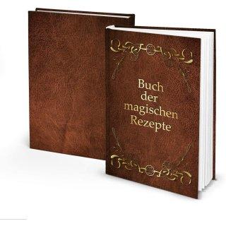 Leeres Kochbuch - Buch der magischen Rezepte - braun gold DIN A5