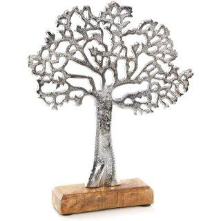 Lebensbaum Figur aus Metall & Holz 27 cm Silber - zum Hinstellen