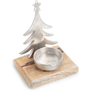 Weihnachtlicher Teelichthalter aus Holz + Metall - Silber braun