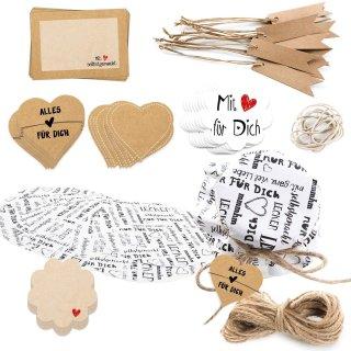 Set - Gläserdeckchen + Sticker + Papieranhänger - Geschenkset für Hobbyköche - 81 Teile