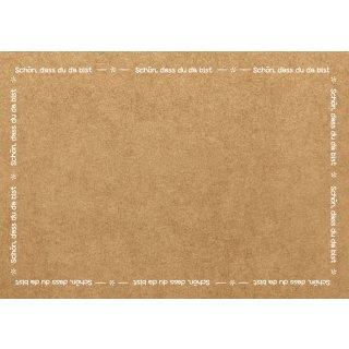 Tischsets aus Papier SCHÖN DASS DU DA BIST braun weiß - DIN A3