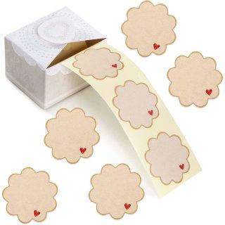 200 Etiketten auf Rolle blanko Button Blume mit Herz - 5 cm braun zum Beschriften