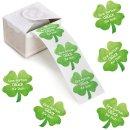 200 Sticker auf Rolle - grünes Kleeblatt mit Text...