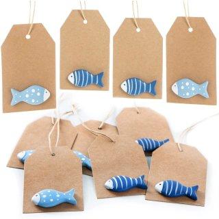 10 Kraftpapier Etiketten zum Aufhängen mit Fisch - Maritime Geschenkanhänger