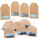 10 Kraftpapier Etiketten zum Aufhängen mit Fisch -...