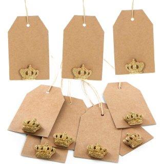 Edle Flaschenanhänger aus Kraftpapier mit Krone - zum Beschriften