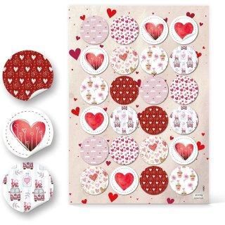 Runde Herzaufkleber - 4 cm rot weiß rosa - kleine und große Herzen