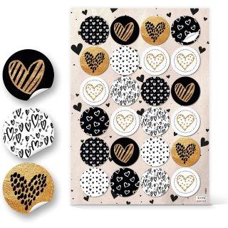 Runde Aufkleber - 4 cm - mit Herz Motiven in schwarz weiß gold
