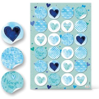 Blau türkise Herz Aufkleber - 4 cm rund - mit Schriftzügen