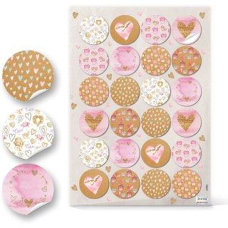 Runde Herzaufkleber - 4 cm - in rosa braun weiß - zum Verzieren