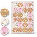 Runde Herzaufkleber - 4 cm - in rosa braun weiß -...