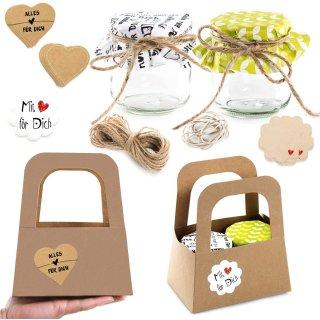 Verpackung - 2 Geschenkkörbe + 4 Marmeladengläser + Deko