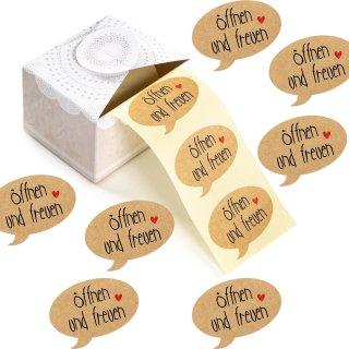 200 Geschenkaufkleber auf Rolle ÖFFNEN UND FREUEN - Kraftpapier-Optik - 5 x 3,5 cm