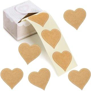 200 Herzaufkleber auf Rolle zum Beschriften - Kraftpapier-Optik - 5 cm zum Beschreiben