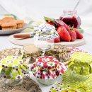 6 kleine Marmeladengläser + Marmeladendeckchen + Aufkleber