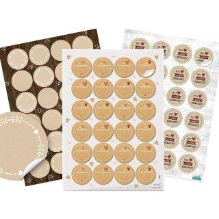 Aufkleber Set 3 x 24 Sticker - Selbstgemacht & zum Beschriften - Stickerset