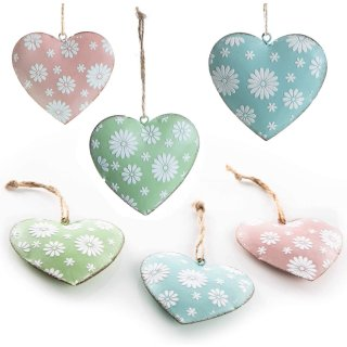 6 Herzanhänger aus Metall - Osteranhänger Set - Herzen in grün, rosa + blau