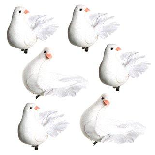 6 Deko Tauben mit Klammer - Taubenklammern als Hochzeitsdeko Symbol