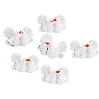 6 Tauben Paare aus Kunststein - weiße Taubenpaare als Streudeko Hochzeitsdeko