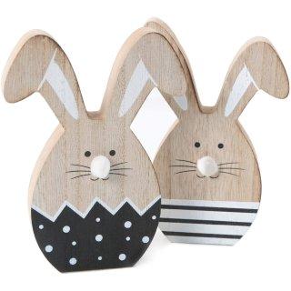 2 Osterhasen Dekofiguren aus Holz schwarz weiß Natur - zum Hinstellen