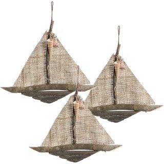 3 Segelboote zum Aufhängen - maritime Vintage Deko braun Natur - 28 cm