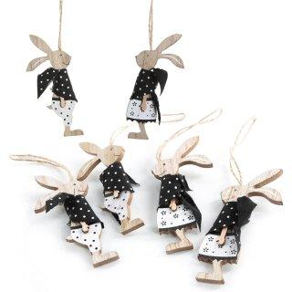6 Osterhasen Anhänger aus Holz Natur schwarz weiß Hasenjunge + Hasenmädchen