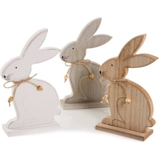 3 Osterhasen Figuren aus Holz weiß grau braun - Deko Hasen zum Hinstellen