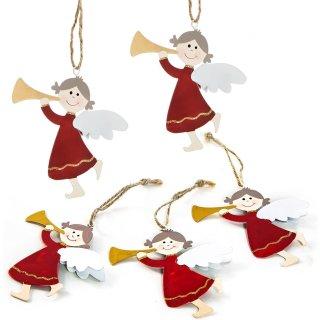 5 Engelanhänger aus Metall 9,5 cm - weihnachtliche Schutzengel Anhänger rot weiß Gold