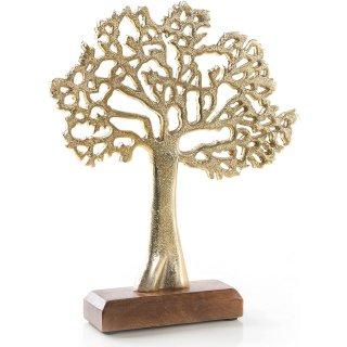 Baum Dekofigur aus Metall - Lebensbaum Figur Gold zum Hinstellen - 27 cm