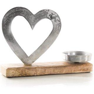Kerzenhalter mit Herz Figur - modernes Dekoobjekt Silber braun aus Metall & Holz