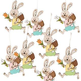 8 kleine Osterhasen Anhänger bunt aus Holz - mit Schnur zum Aufhängen