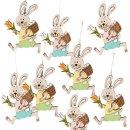 8 kleine Osterhasen Anhänger bunt aus Holz - mit...