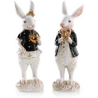 2 Hasen Figuren zum Hinstellen schwarz weiß gold - Osterhasen Paar