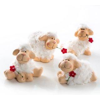 4 Schafe weiß braun mit Blume 9 cm - Schäfchen Figuren als Osterdeko